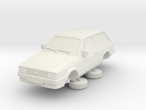 1-64 Ford Escort Mk3 2 Door Standard Estate in White Natural Versatile Plastic