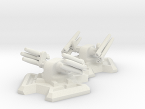 Missile Turret X2 (6mm Scale) in White Strong & Flexible