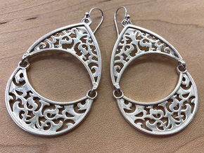 BlakOpal Filigree Teardrop Earring in Polished Silver (Interlocking Parts)