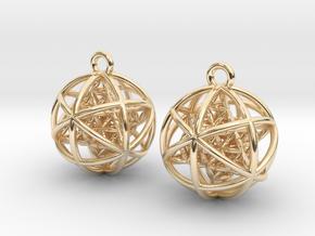 Flower of Life Planetary Merkaba Earrings in 14k Gold Plated Brass
