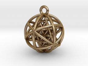 "Flower of Life Planetary Merkaba Pendant 1"" in Polished Gold Steel"