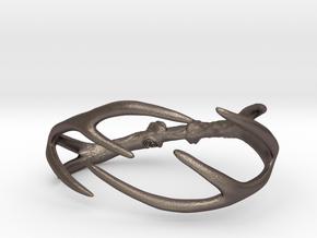 Antler Bracelet -  65mm  in Polished Bronzed Silver Steel