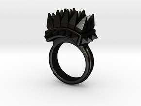 Ferocious Spiked Band (Size 6) in Matte Black Steel