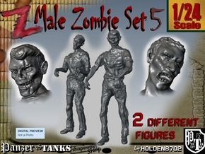 1-24 Male Zombie Set5 in White Natural Versatile Plastic