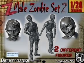 1-24 Male Zombie Set2 in White Natural Versatile Plastic