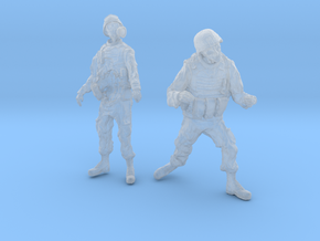1-24 Military Zombie Set 4 in Smooth Fine Detail Plastic