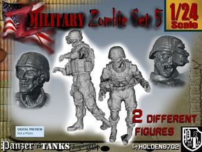 1-24 Military Zombie Set 5 in White Natural Versatile Plastic