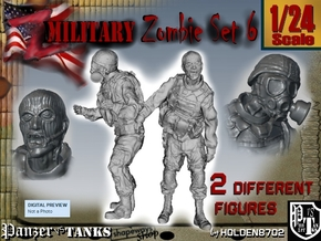 1-24 Military Zombie Set 6 in White Strong & Flexible