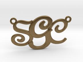 Custom Monogram Pendant - SCG in Natural Bronze
