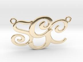 Custom Monogram Pendant - SCG in 14K Yellow Gold