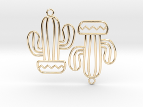 Cactus Arms Earrings in 14k Gold Plated Brass