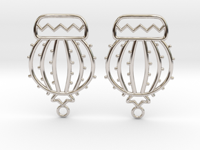 Cactus Ball Earrings in Rhodium Plated Brass