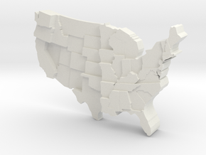 USA by Rainfall in White Natural Versatile Plastic