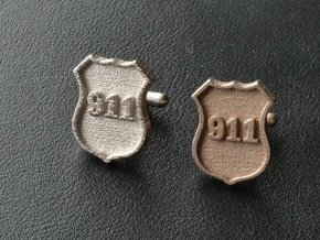 911 Police Shield Cuff-links in Stainless Steel