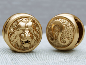 Zodiac Lion (charms) in Polished Brass
