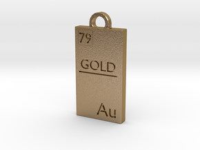Gold Bar Pendant in Polished Gold Steel