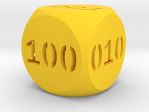Programmer's dice in Yellow Strong & Flexible Polished