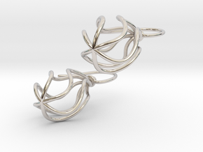 Soft Whirl Pair in Rhodium Plated Brass