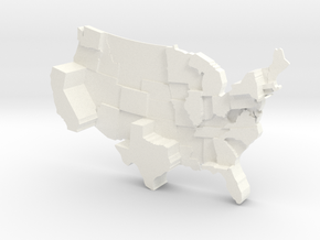 USA by Electoral Votes in White Processed Versatile Plastic