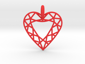 Heart Diamond Pendant in Red Processed Versatile Plastic