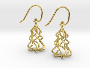 Christmas Tree Twirl in Polished Brass (Interlocking Parts)