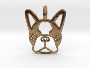 Boston Terrier Pendant in Natural Brass