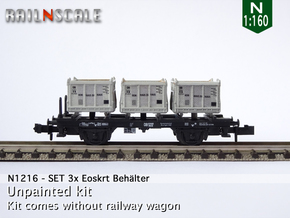 SET 3x Eoskrt 021 Behälter (Roco) (N 1:160) in Frosted Ultra Detail