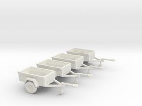 1/144 Scale M416 Jeep Trailers (4) in White Natural Versatile Plastic