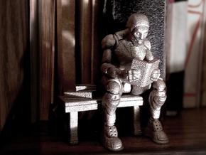 Robot Reading Book in Polished Bronzed Silver Steel