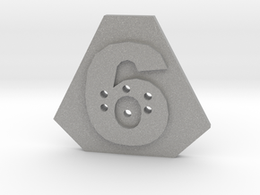 6-hole, Number 6,  6 Sided Shape Button in Aluminum