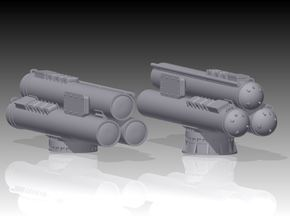 Mk32 Torpedo tubes x 2 - 1/128 in Smooth Fine Detail Plastic
