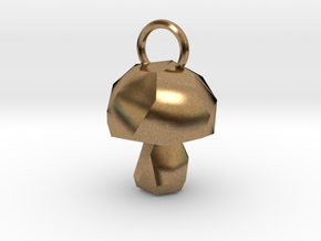 Mushroom low poly pendant in Natural Brass
