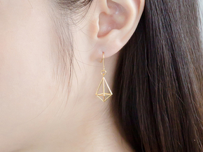 Diamond Earrings #L in 14k Gold Plated Brass