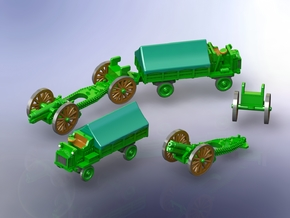 British WW I 6 inch 26 cwt Howitzer w. FWD Tractor in Smooth Fine Detail Plastic