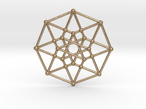 Tesseract - 4th dimensional Hypercube E4 in Polished Gold Steel