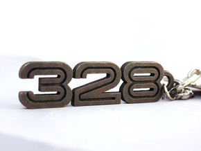 KEYCHAIN LOGO 328 in Polished Gold Steel