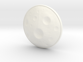 Moon Earring in White Processed Versatile Plastic
