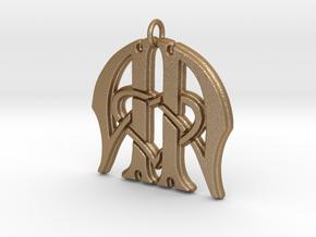 Monogram Initials AA.3 Pendant in Matte Gold Steel