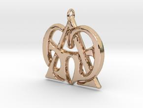 Monogram Initials GGA Pendant  in 14k Rose Gold