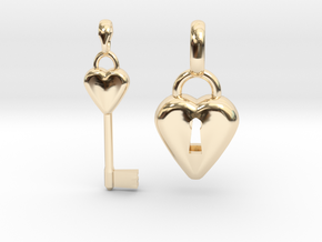 2 Pendants Hollow Heart and Key to Heart in 14K Yellow Gold