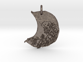 Floral Waxing Crescent Moon by Gabrielle in Polished Bronzed Silver Steel