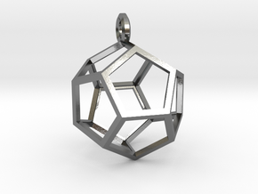 Dodecahedron Pendant in Polished Silver