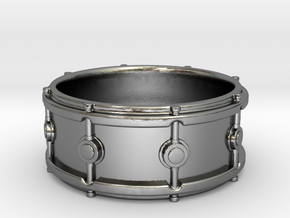 Snare Drum Ring in Polished Silver: 10 / 61.5