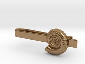 Ammonite Tie Bar in Natural Brass