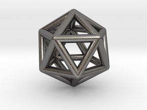 0601 Icosahedron E (a=10mm) #001 in Polished Nickel Steel