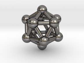 0603 Icosahedron V&E (a=10mm) #003 in Polished Nickel Steel
