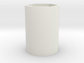 Button Handle Nut in White Natural Versatile Plastic