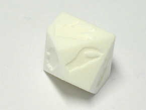 Dice for extended rock-paper-scissors (D10/D5) in White Strong & Flexible Polished