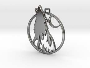 Wolf Pendant in Polished Silver
