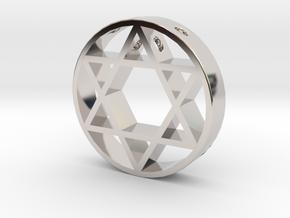 David Star pendant for men. in Rhodium Plated Brass